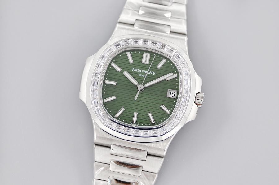 3k厂百达翡丽鹦鹉螺橄榄绿镶T方钻款腕表  第2张